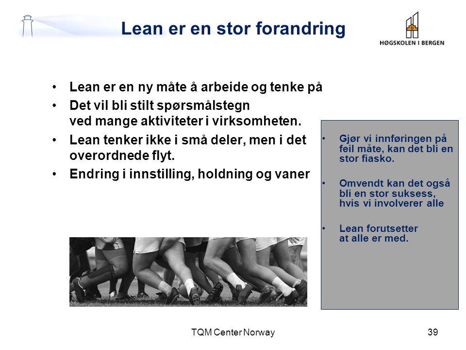 Lean er en stor forandring •Lean er en ny måte å arbeide og tenke på •Det vil bli stilt spørsmålstegn ved mange aktiviteter i virksomheten. •Lean tenk