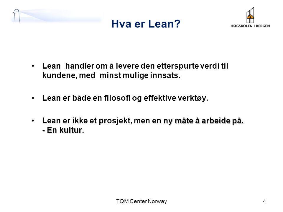 Hva er Lean? •Lean handler om å levere den etterspurte verdi til kundene, med minst mulige innsats. •Lean er både en filosofi og effektive verktøy. ny