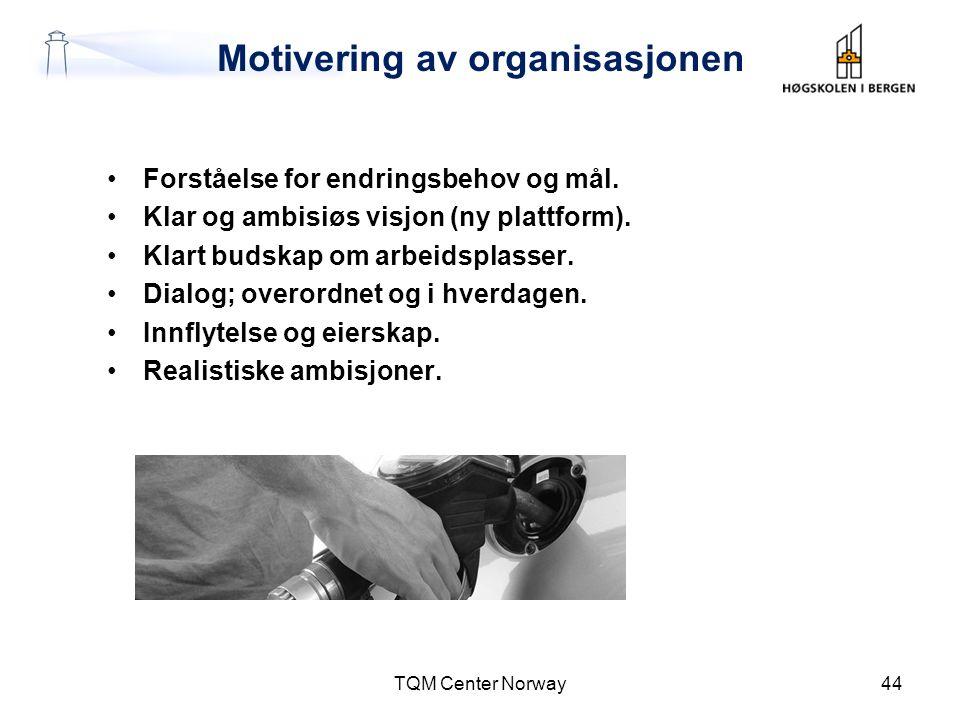 Motivering av organisasjonen •Forståelse for endringsbehov og mål. •Klar og ambisiøs visjon (ny plattform). •Klart budskap om arbeidsplasser. •Dialog;