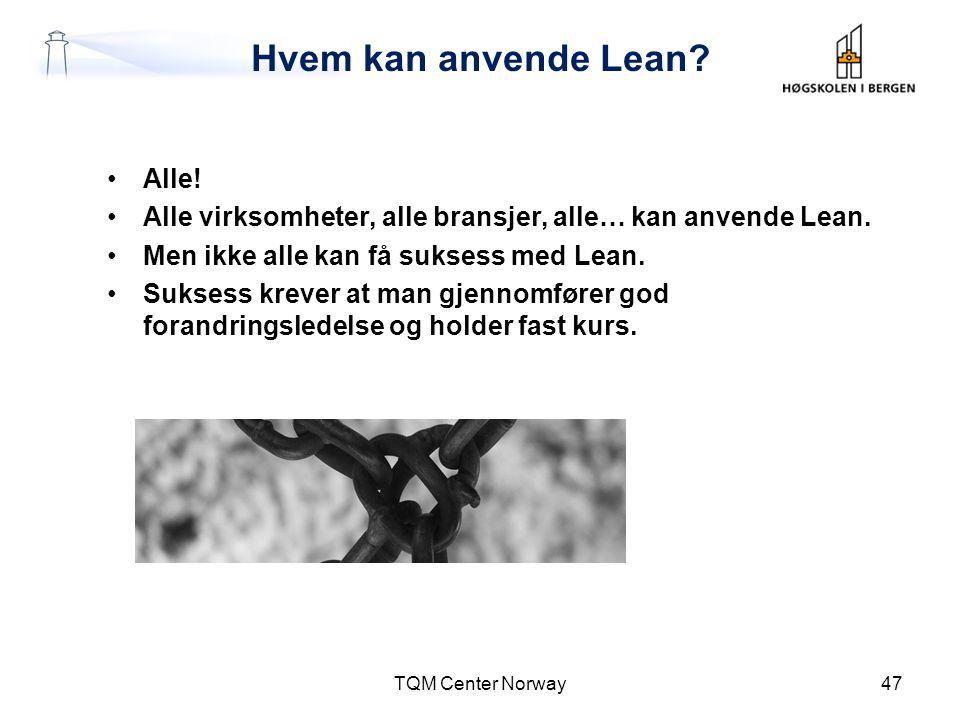 Hvem kan anvende Lean? •Alle! •Alle virksomheter, alle bransjer, alle… kan anvende Lean. •Men ikke alle kan få suksess med Lean. •Suksess krever at ma