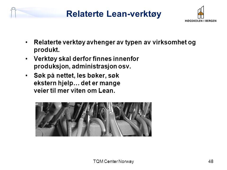 Relaterte Lean-verktøy •Relaterte verktøy avhenger av typen av virksomhet og produkt. •Verktøy skal derfor finnes innenfor produksjon, administrasjon