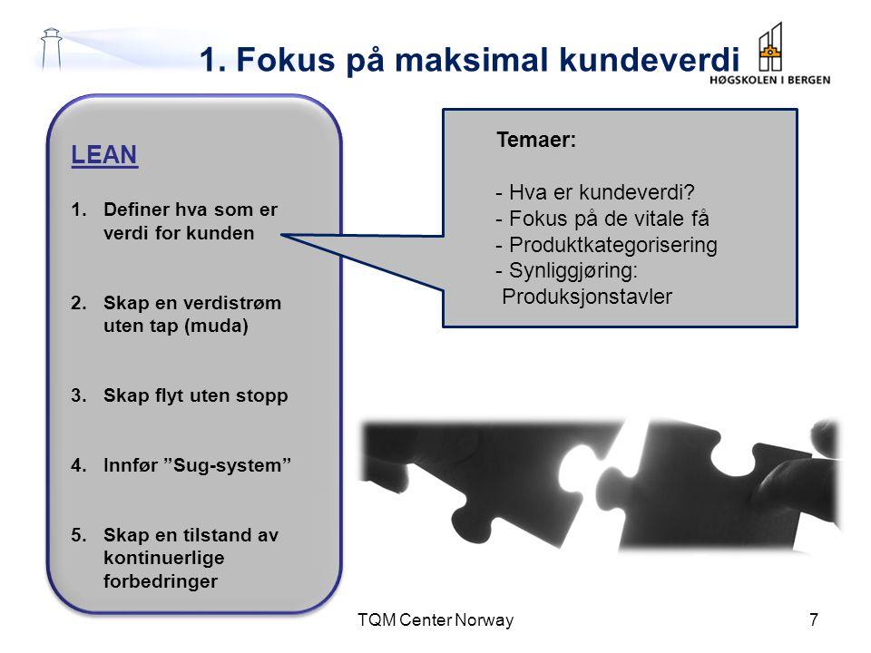 1. Fokus på maksimal kundeverdi TQM Center Norway7 LEAN 1.Definer hva som er verdi for kunden 2.Skap en verdistrøm uten tap (muda) 3.Skap flyt uten st