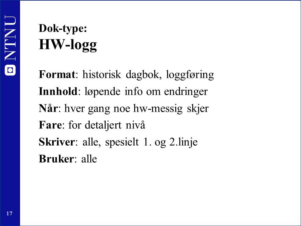 17 Dok-type: HW-logg Format: historisk dagbok, loggføring Innhold: løpende info om endringer Når: hver gang noe hw-messig skjer Fare: for detaljert nivå Skriver: alle, spesielt 1.