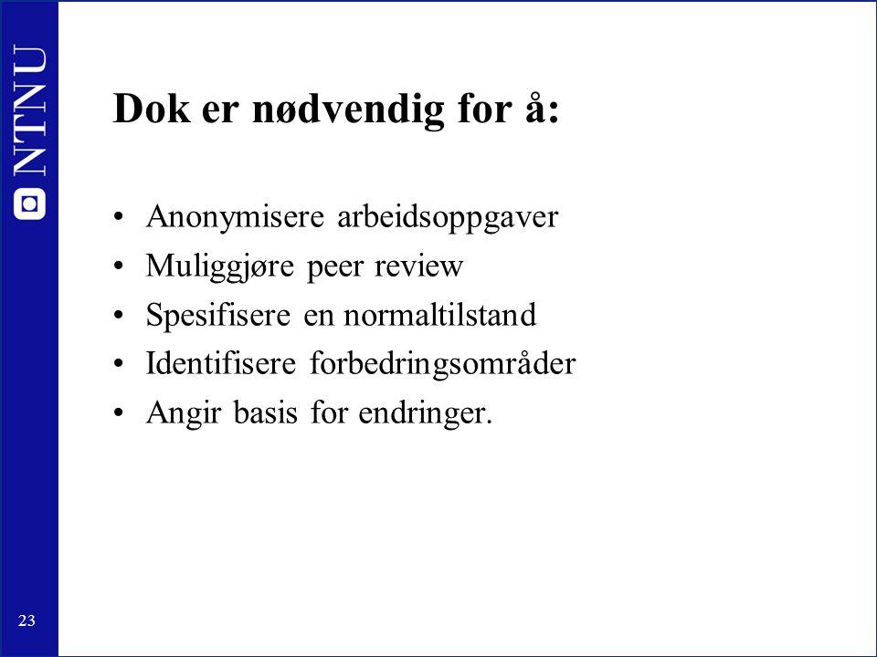 23 Dok er nødvendig for å: •Anonymisere arbeidsoppgaver •Muliggjøre peer review •Spesifisere en normaltilstand •Identifisere forbedringsområder •Angir basis for endringer.