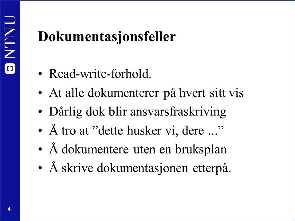 15 Dok-type: Standard operasjonsrutine Format: trinnvis liste Innhold: fremgangsmåte/prosedyre Når: alle rutineoppgaver Fare: forsøke å håndtere for mange feil Skriver: 3.linje Bruker: 1.linje