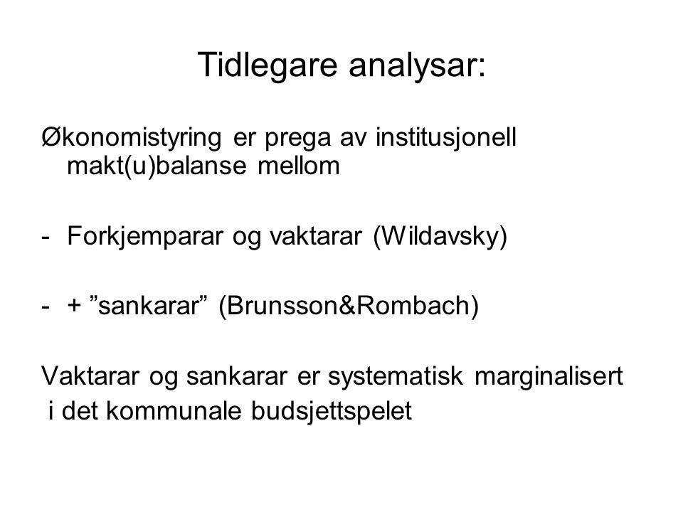 """Tidlegare analysar: Økonomistyring er prega av institusjonell makt(u)balanse mellom -Forkjemparar og vaktarar (Wildavsky) -+ """"sankarar"""" (Brunsson&Romb"""