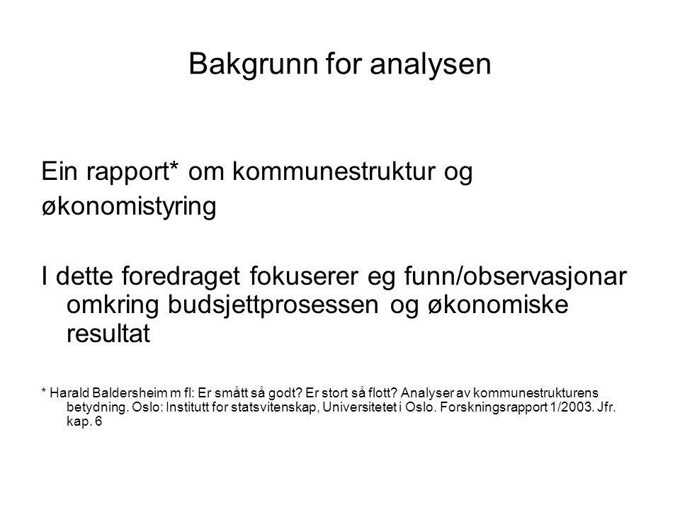 Bakgrunn for analysen Ein rapport* om kommunestruktur og økonomistyring I dette foredraget fokuserer eg funn/observasjonar omkring budsjettprosessen o