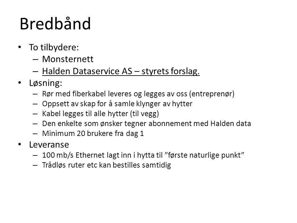 Bredbånd • To tilbydere: – Monsternett – Halden Dataservice AS – styrets forslag.