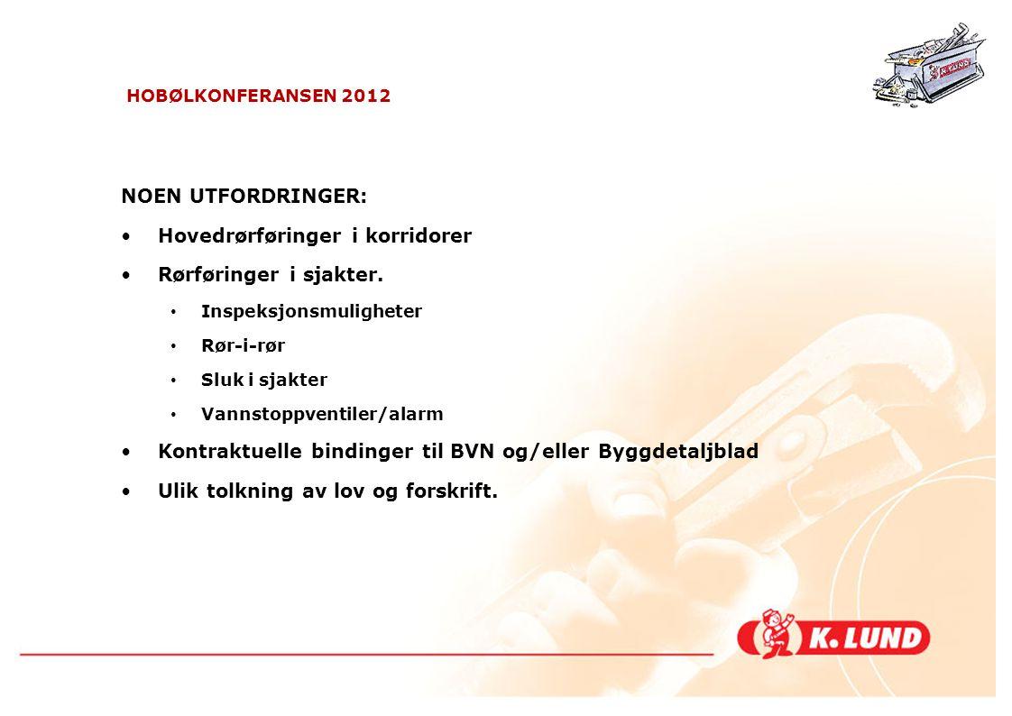 HOBØLKONFERANSEN 2012 UTDRAG FRA TK's Kravspec VVS-anlegg.