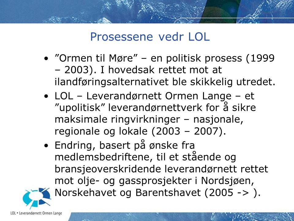 """Prosessene vedr LOL •""""Ormen til Møre"""" – en politisk prosess (1999 – 2003). I hovedsak rettet mot at ilandføringsalternativet ble skikkelig utredet. •L"""