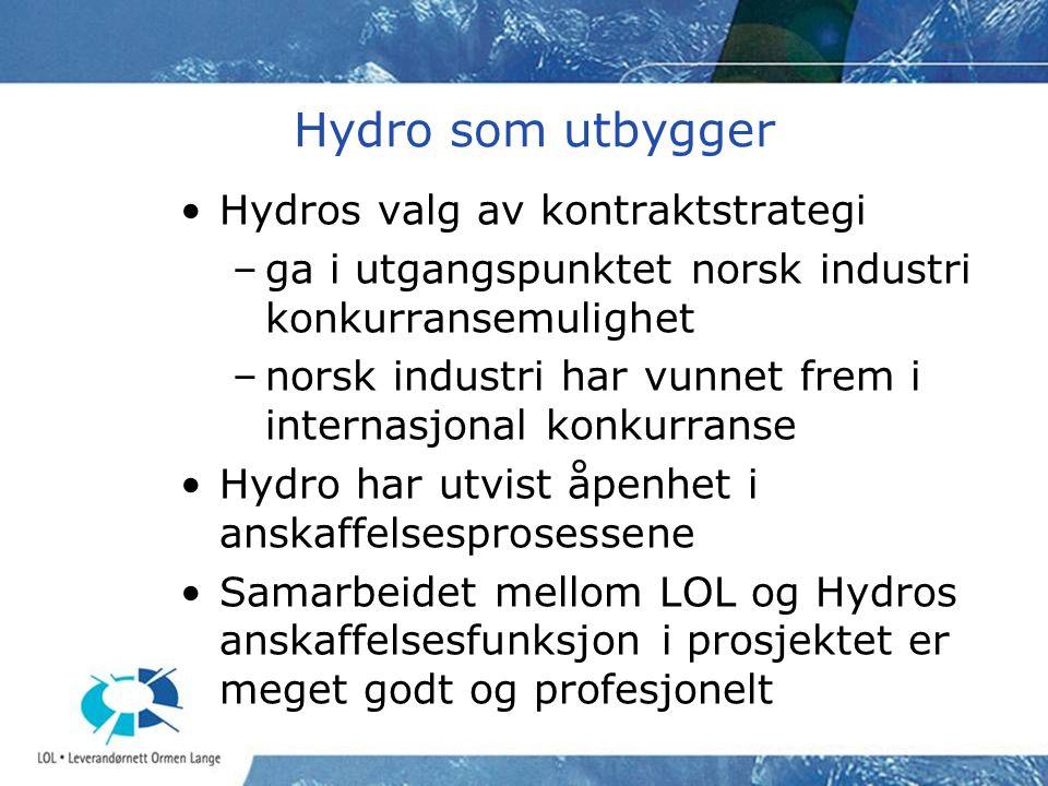 Hydro som utbygger •Hydros valg av kontraktstrategi –ga i utgangspunktet norsk industri konkurransemulighet –norsk industri har vunnet frem i internas