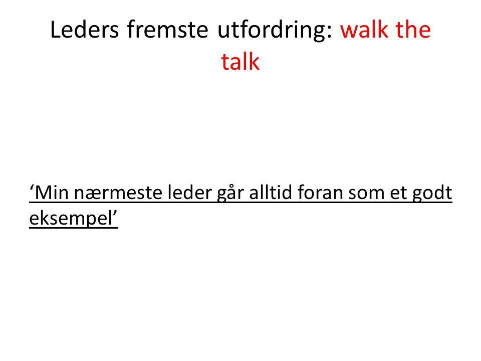 Leders fremste utfordring: walk the talk 'Min nærmeste leder går alltid foran som et godt eksempel'
