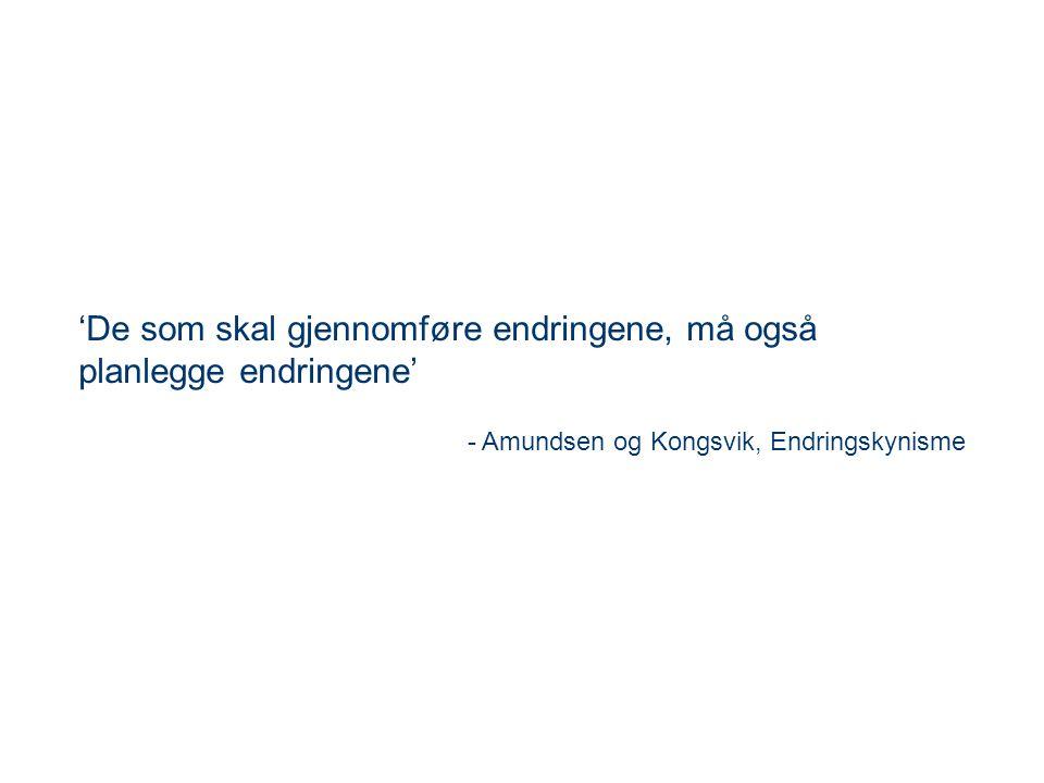 'De som skal gjennomføre endringene, må også planlegge endringene' - Amundsen og Kongsvik, Endringskynisme