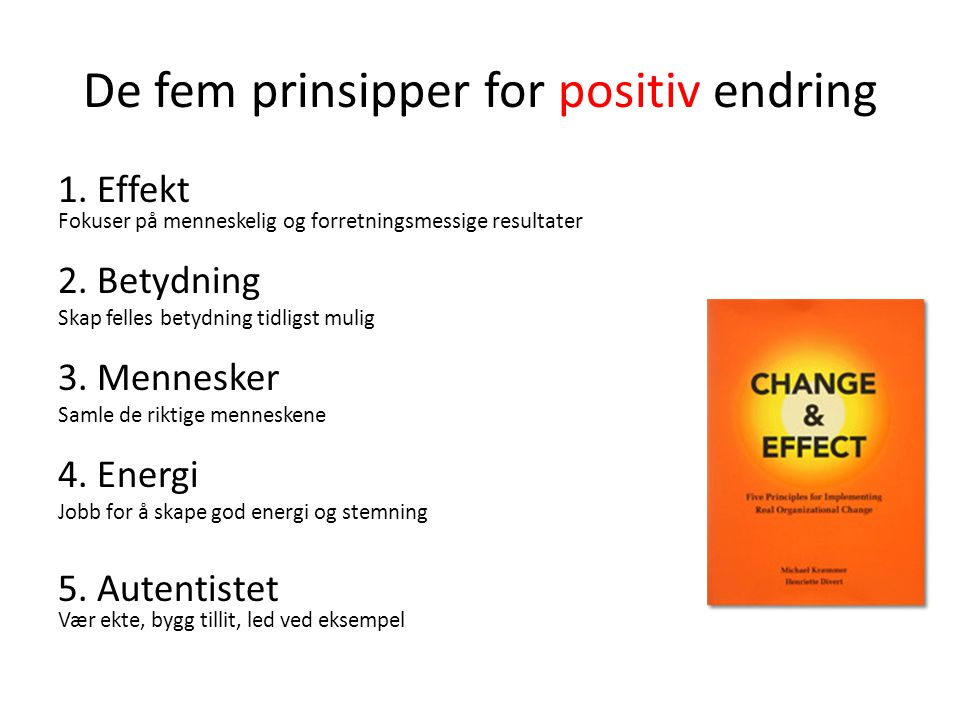 De fem prinsipper for positiv endring 1. Effekt Fokuser på menneskelig og forretningsmessige resultater 2. Betydning Skap felles betydning tidligst mu