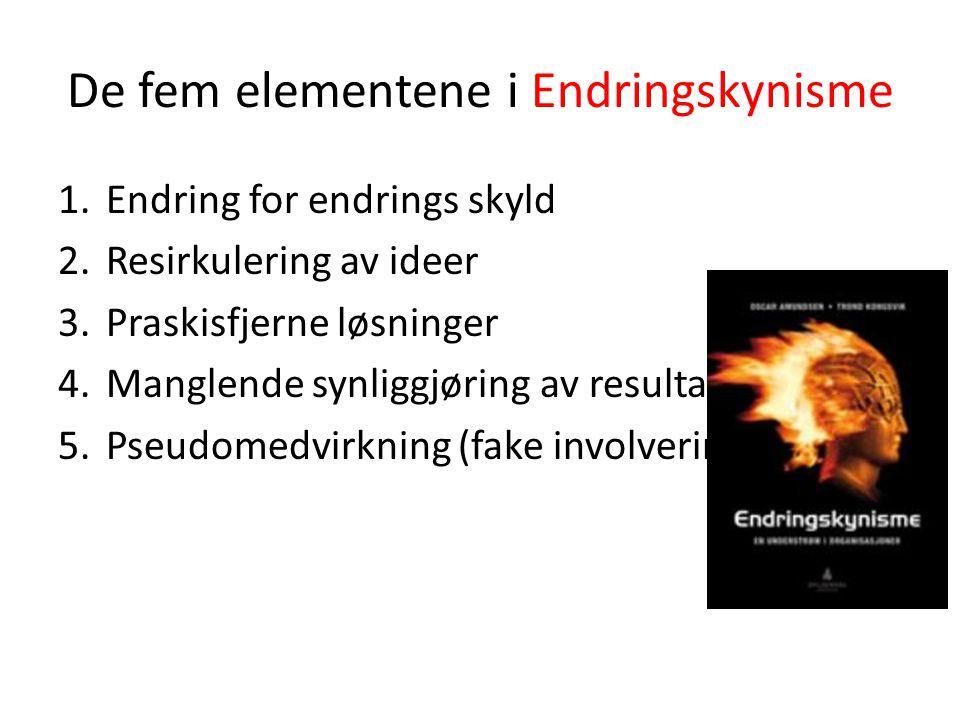 De fem elementene i Endringskynisme 1.Endring for endrings skyld 2.Resirkulering av ideer 3.Praskisfjerne løsninger 4.Manglende synliggjøring av resul