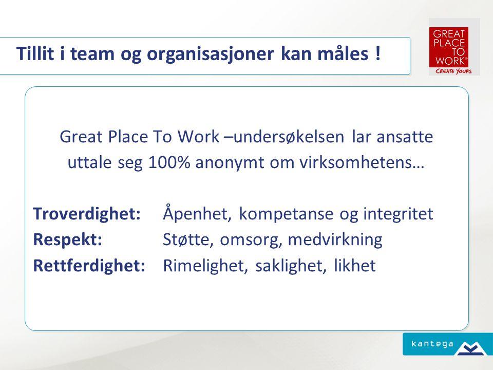 Tillit i team og organisasjoner kan måles ! Great Place To Work –undersøkelsen lar ansatte uttale seg 100% anonymt om virksomhetens… Troverdighet: Åpe