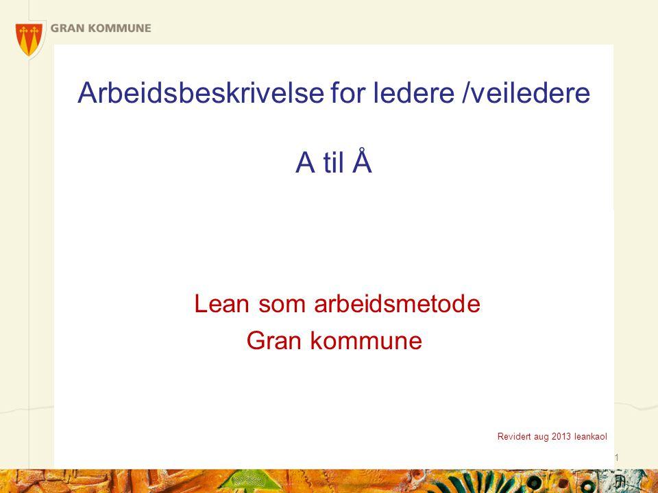 1 Arbeidsbeskrivelse for ledere /veiledere A til Å Lean som arbeidsmetode Gran kommune Revidert aug 2013 leankaol