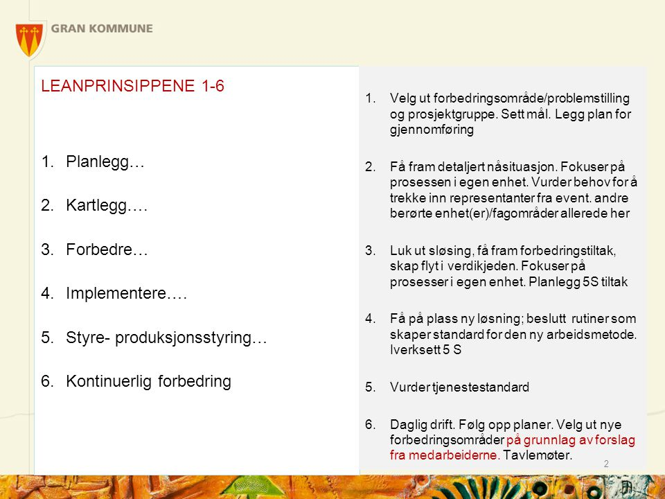 LEANPRINSIPPENE 1-6 1.Planlegg… 2.Kartlegg….3.Forbedre… 4.Implementere….