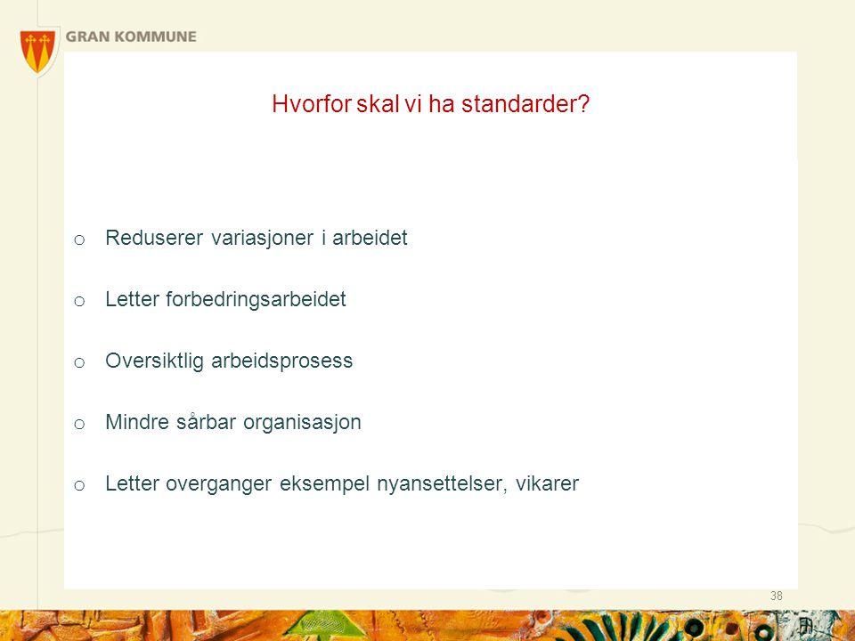 Hvorfor skal vi ha standarder? 38 o Reduserer variasjoner i arbeidet o Letter forbedringsarbeidet o Oversiktlig arbeidsprosess o Mindre sårbar organis
