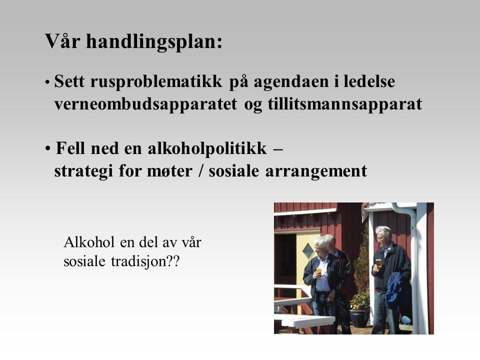 Vår handlingsplan: • Sett rusproblematikk på agendaen i ledelse verneombudsapparatet og tillitsmannsapparat • Fell ned en alkoholpolitikk – strategi f