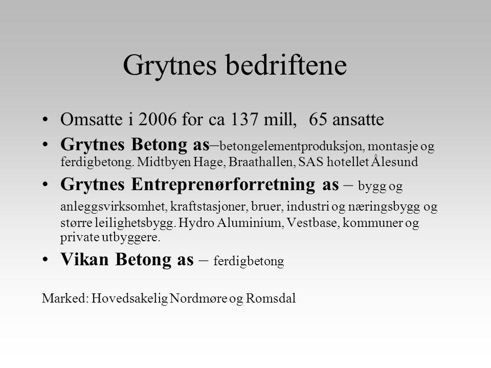 Grytnes bedriftene •Omsatte i 2006 for ca 137 mill, 65 ansatte •Grytnes Betong as– betongelementproduksjon, montasje og ferdigbetong. Midtbyen Hage, B