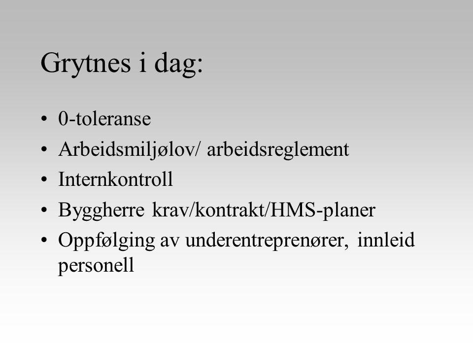 Grytnes i dag: •0-toleranse •Arbeidsmiljølov/ arbeidsreglement •Internkontroll •Byggherre krav/kontrakt/HMS-planer •Oppfølging av underentreprenører,