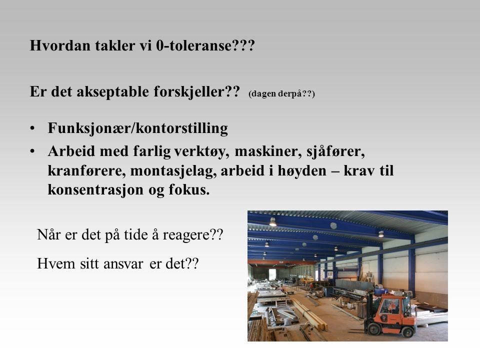 Hvordan takler vi 0-toleranse??? Er det akseptable forskjeller?? (dagen derpå??) •Funksjonær/kontorstilling •Arbeid med farlig verktøy, maskiner, sjåf