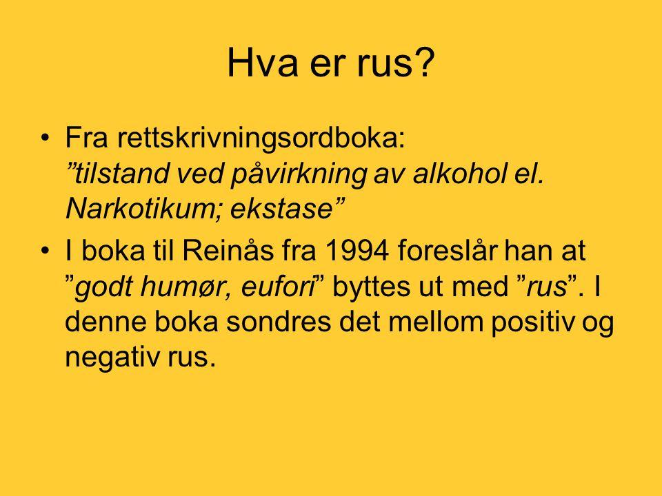 Hva er rus.•Fra rettskrivningsordboka: tilstand ved påvirkning av alkohol el.