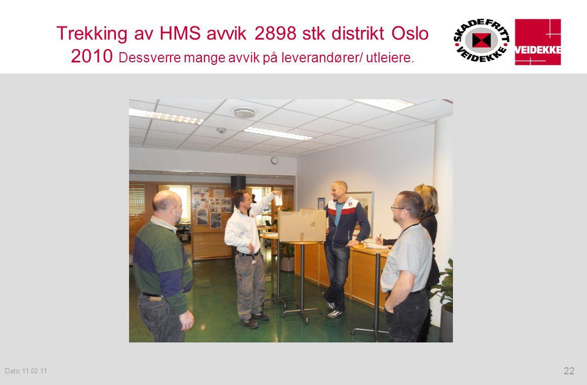 Trekking av HMS avvik 2898 stk distrikt Oslo 2010 Dessverre mange avvik på leverandører/ utleiere. 22 Dato:11.02.11