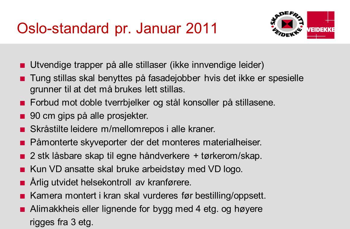Oslo-standard pr. Januar 2011 Utvendige trapper på alle stillaser (ikke innvendige leider) Tung stillas skal benyttes på fasadejobber hvis det ikke er