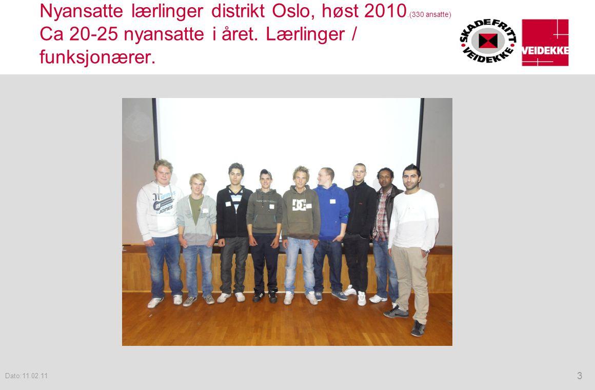 Nyansatte lærlinger distrikt Oslo, høst 2010.(330 ansatte) Ca 20-25 nyansatte i året. Lærlinger / funksjonærer. 3 Dato:11.02.11