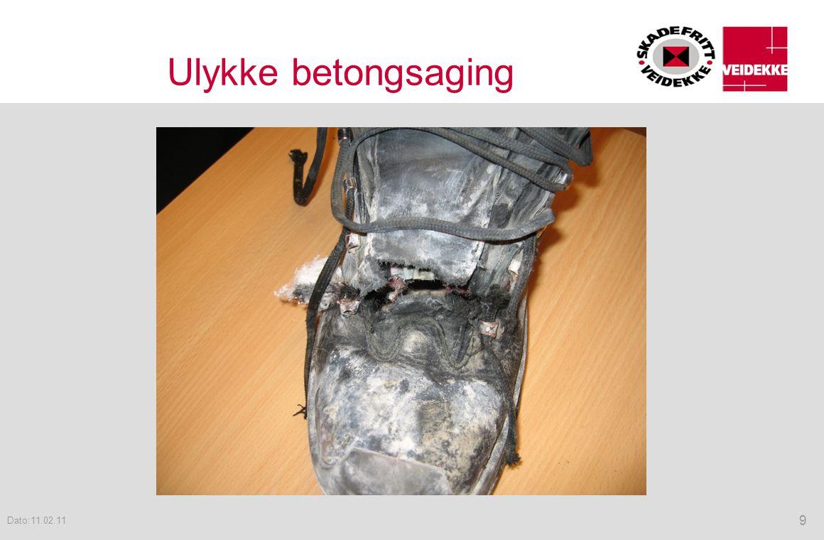 Ulykke betongsaging 9 Dato:11.02.11