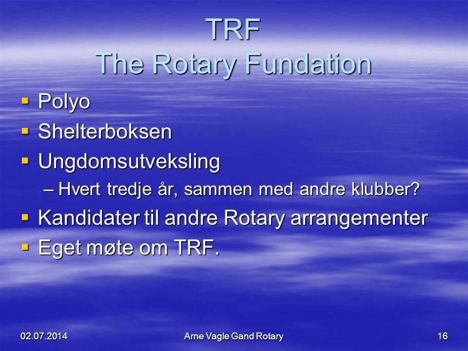 TRF The Rotary Fundation  Polyo  Shelterboksen  Ungdomsutveksling –Hvert tredje år, sammen med andre klubber?  Kandidater til andre Rotary arrange