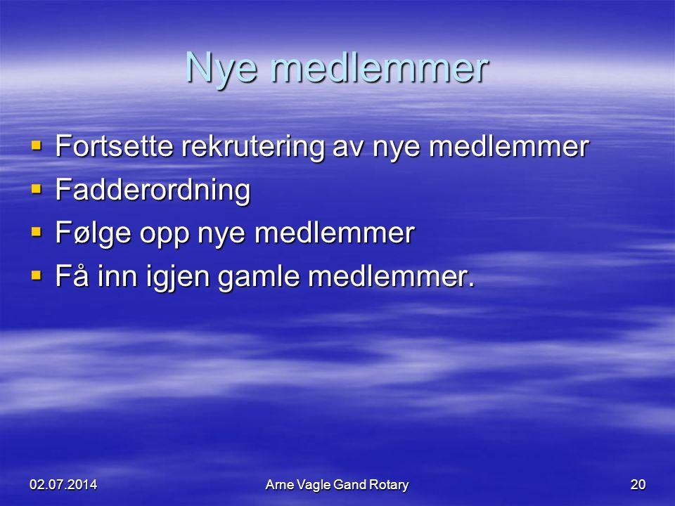 Nye medlemmer  Fortsette rekrutering av nye medlemmer  Fadderordning  Følge opp nye medlemmer  Få inn igjen gamle medlemmer. 02.07.2014Arne Vagle