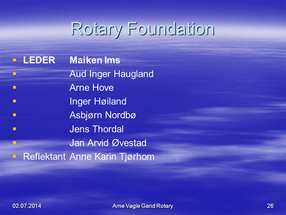 RotaryFoundation Rotary Foundation   LEDERMaiken Ims   Aud Inger Haugland   Arne Hove   Inger Høiland   Asbjørn Nordbø   Jens Thordal  