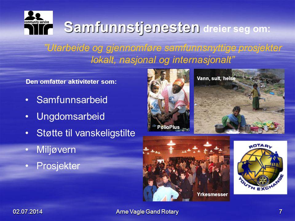 """02.07.2014Arne Vagle Gand Rotary7 """"Utarbeide og gjennomføre samfunnsnyttige prosjekter lokalt, nasjonal og internasjonalt"""" Samfunnstjenesten Samfunnst"""