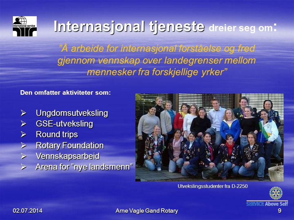 """02.07.2014Arne Vagle Gand Rotary9 Internasjonal tjeneste Internasjonal tjeneste dreier seg om : """"Å arbeide for internasjonal forståelse og fred gjenno"""