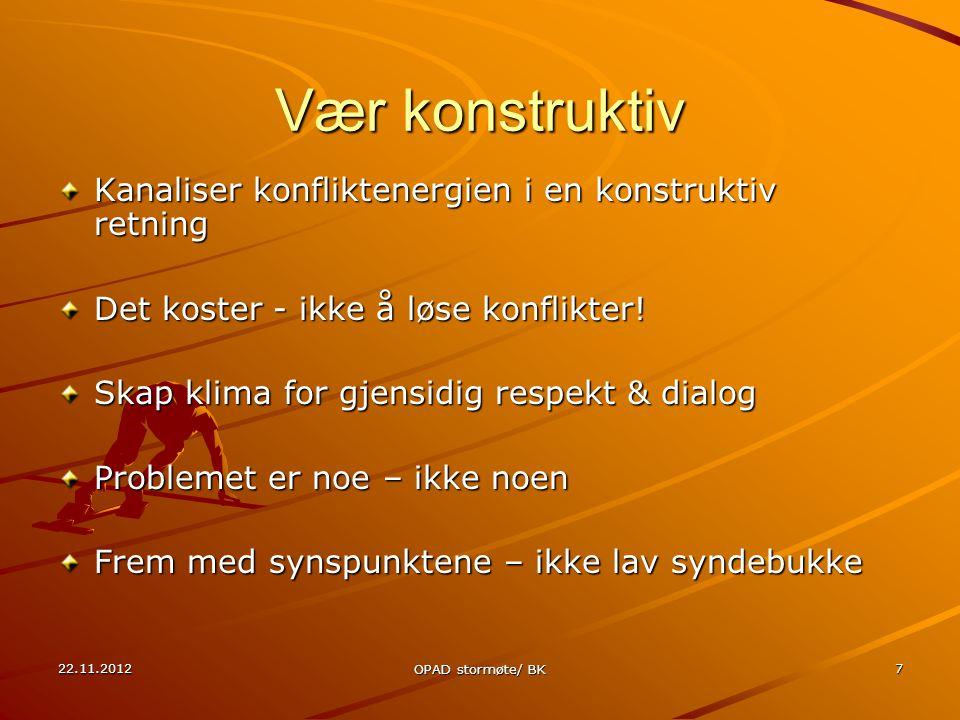 22.11.2012 OPAD stormøte/ BK 7 Vær konstruktiv Kanaliser konfliktenergien i en konstruktiv retning Det koster - ikke å løse konflikter.