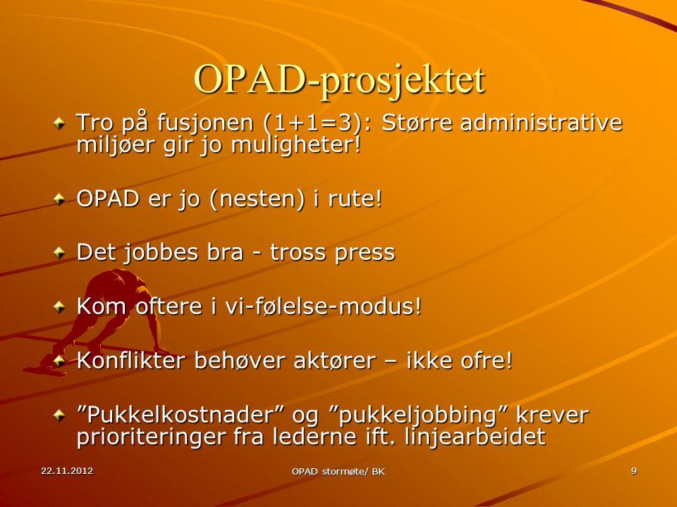 22.11.2012 OPAD stormøte/ BK 9 OPAD-prosjektet Tro på fusjonen (1+1=3): Større administrative miljøer gir jo muligheter.