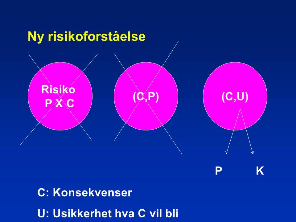 Ny risikoforståelse (C,P) C: Konsekvenser U: Usikkerhet hva C vil bli (C,U) Risiko P X C PK