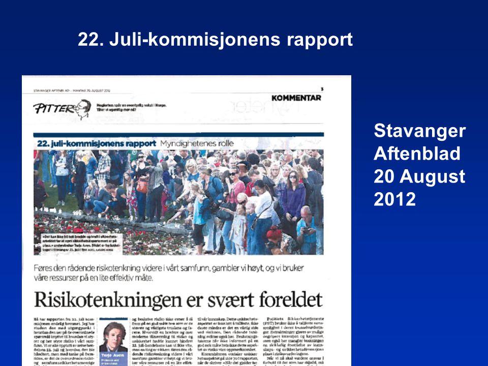 Stavanger Aftenblad 20 August 2012 22. Juli-kommisjonens rapport