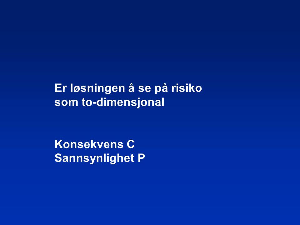Er løsningen å se på risiko som to-dimensjonal Konsekvens C Sannsynlighet P