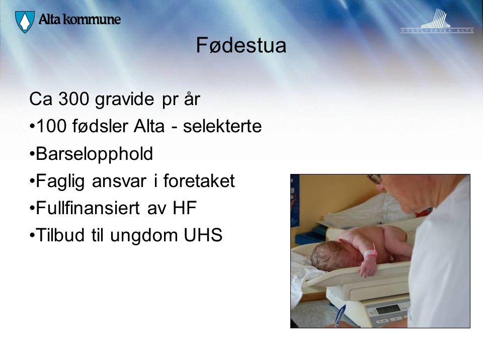 Fødestua Ca 300 gravide pr år • 100 fødsler Alta - selekterte • Barselopphold • Faglig ansvar i foretaket • Fullfinansiert av HF • Tilbud til ungdom U
