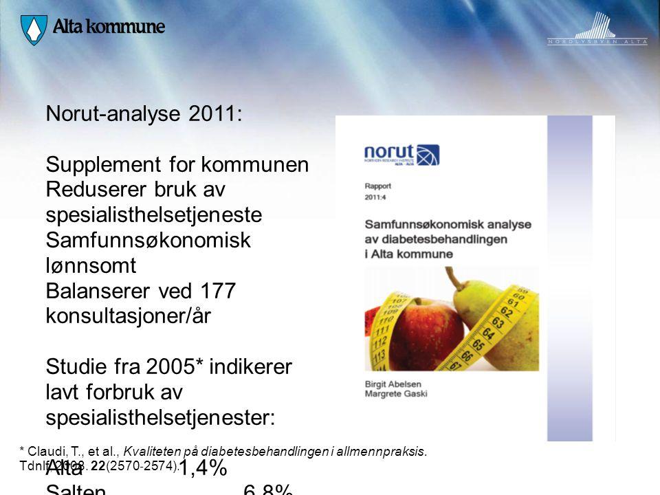 Norut-analyse 2011: Supplement for kommunen Reduserer bruk av spesialisthelsetjeneste Samfunnsøkonomisk lønnsomt Balanserer ved 177 konsultasjoner/år