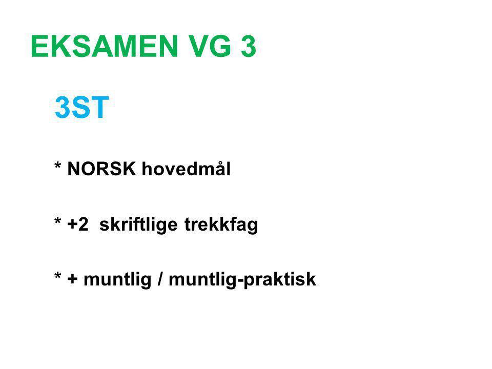 EKSAMEN VG 3 3ST * NORSK hovedmål * +2 skriftlige trekkfag * + muntlig / muntlig-praktisk