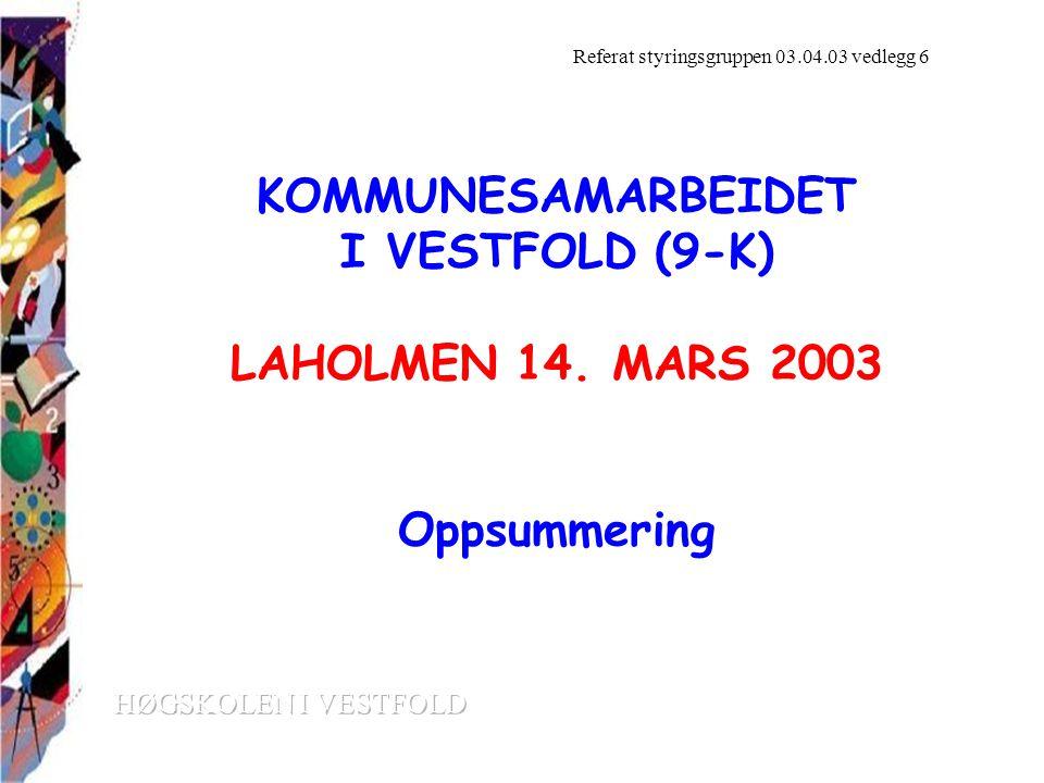 KOMMUNESAMARBEIDET I VESTFOLD (9-K) LAHOLMEN 14.