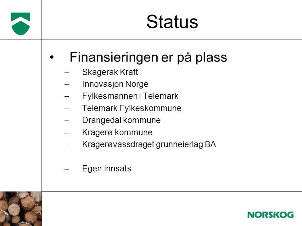 Status •Finansieringen er på plass –Skagerak Kraft –Innovasjon Norge –Fylkesmannen i Telemark –Telemark Fylkeskommune –Drangedal kommune –Kragerø komm