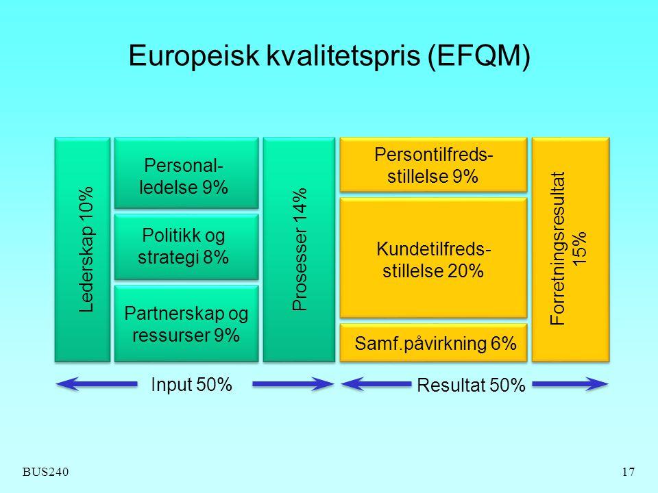 BUS24017 Europeisk kvalitetspris (EFQM) Personal- ledelse 9% Politikk og strategi 8% Partnerskap og ressurser 9% Persontilfreds- stillelse 9% Kundetil