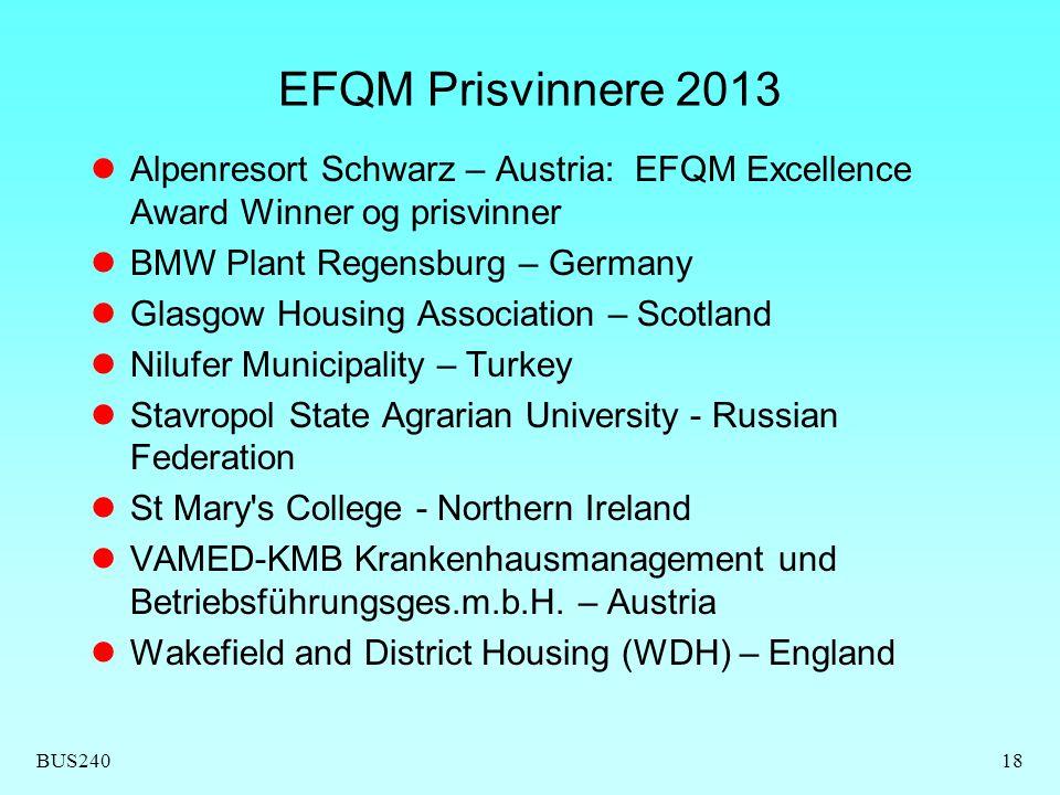 BUS24018 EFQM Prisvinnere 2013  Alpenresort Schwarz – Austria: EFQM Excellence Award Winner og prisvinner  BMW Plant Regensburg – Germany  Glasgow