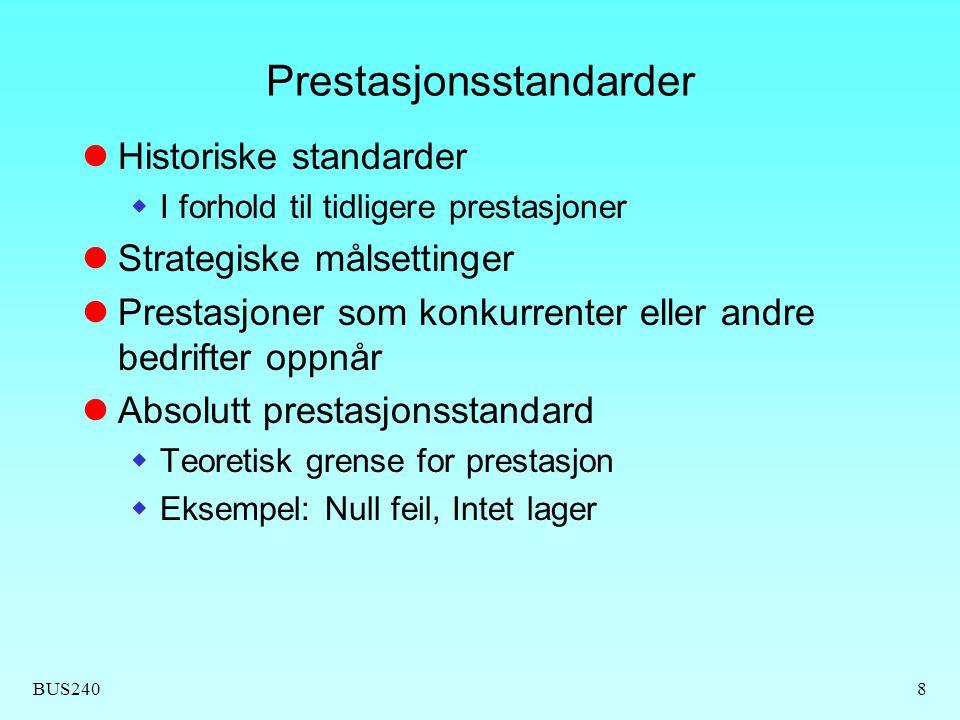 BUS2408 Prestasjonsstandarder  Historiske standarder  I forhold til tidligere prestasjoner  Strategiske målsettinger  Prestasjoner som konkurrente